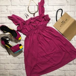 Dark Pink High Waisted A-Line Ruffle Dress